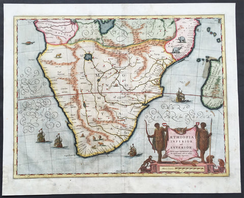 1641 Blaeu Large Old, Antique Map of Southern Africa - Aethopia, The Cape