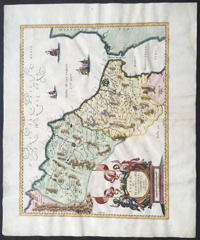 1638 Jan Jansson Large, Old Antique Map of Africa Morocco, Gibraltar & NW Africa