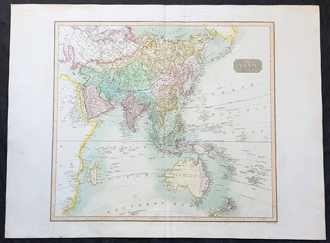 1817 John Thomson Large Antique Map of Asia, New Holland, Australia, New Zealand