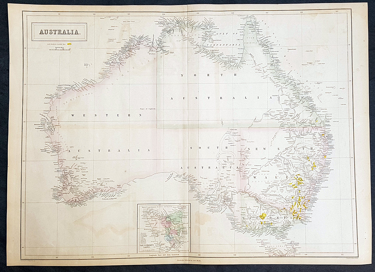 Map Of Australia Gold Rush.1855 John Bartholomew Large Antique Goldfields Map Of Australia 1st Gold Rush