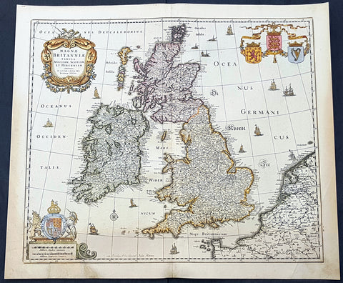 1690 Nicolas Visscher Antique Map of Great Britain & Ireland