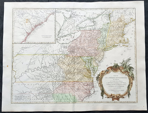 1755 Robert De Vaugondy Large Antique 1st edition Map of Colonial United States
