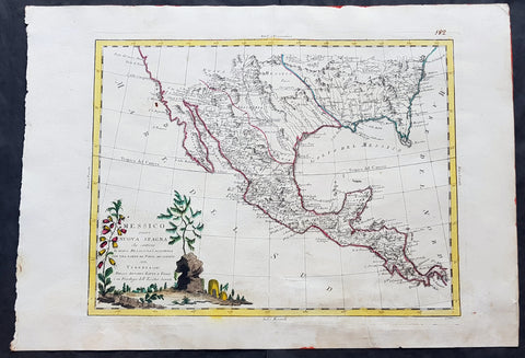 1785 Antonio Zatta Large Antique Map of Mexico, Texas, California, SW & SE USA
