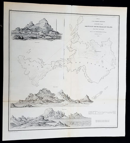 1855 A D Bache Rare Antique Map, Views Farallon Islands San Francisco California