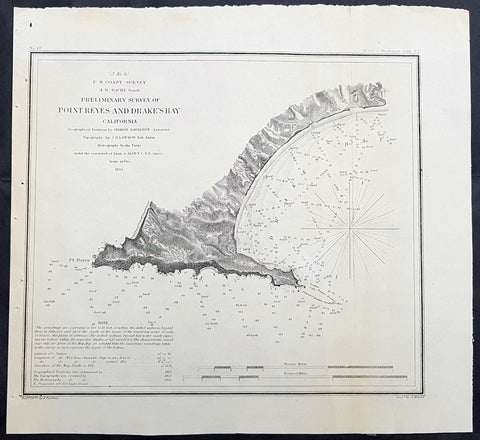 1855 US Coast Survey & A D Bache Antique Map of Drakes Bay or Puerto de Los Reyes, California