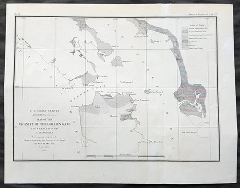 1855 US Coast Survey & A D Bache Antique Map of Golden Gate Entrance to San Francisco Bay