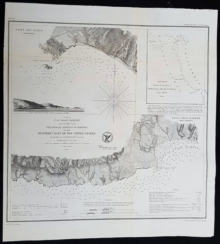 1854 A D Bache Antique Maps of Santa Cruz & Point Ano Nuevo Harbors, California