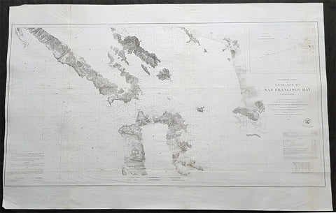 1856 US Coast Survey Large Antique Map of San Francisco Bay & City, California