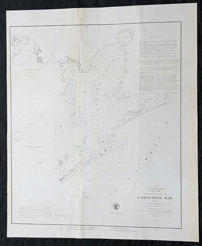 1855 A D Bache Scarce Antique Map of Galveston Island & Galveston Bay, Texas