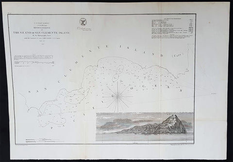 1856 A D Bache Scarce Antique Map of San Clemente Island, San Diego, California