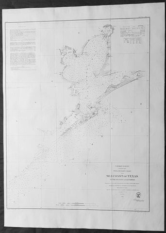 1856 A D Bache Large Scarce Antique Map Coastline of Galveston Island & Bay, Texas
