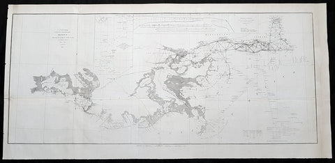 1855 US Coast Survey Large Antique Map Mississippi Delta, Louisiana to Alabama