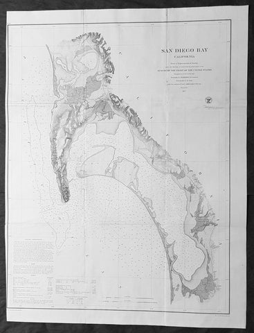 1857 A D Bache Large Rare Antique Map of San Diego Bay, California