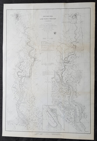 1861 A D Bache Large Antique Map Napa River & Petaluma River Valleys, California