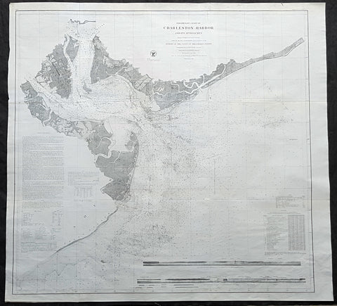 1856 US Coast Survey Large Antique Map, Chart Charleston Harbor, South Carolina