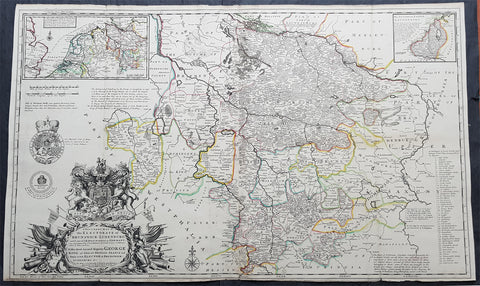 1720 Moll Large Antique Map Brunswick Luneburg, NW Germany - Dedicated to George I