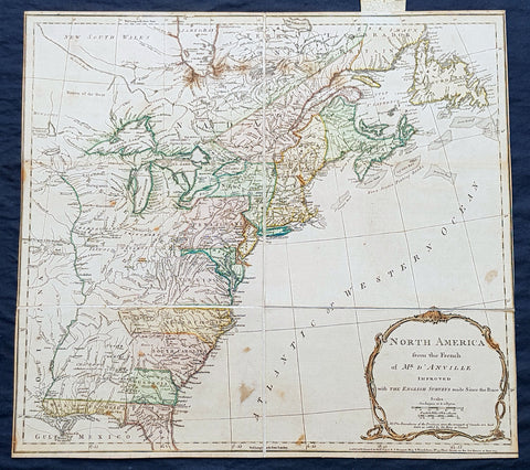 1775 Thomas Jefferys Antique Map North America & Colonial States, Pre Revolution