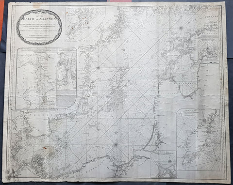 1794 Laurie & Whittle Large Very Rare Blueback Map, Sea Chart of The Baltic Sea