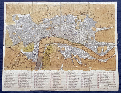 1782 Robert Sayer & John Bennett Large Early Antique Map of London, Rare