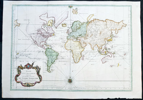 1748 Nicolas Bellin Large Antique Map of The World on Mercators Projection