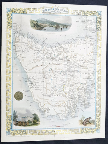 1851 John Tallis Beautiful Antique Map of Van Diemens Land or Tasmania Australia