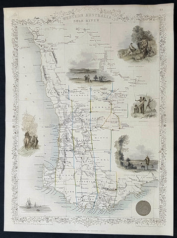 1851 John Tallis Antique Map of Western Australia or the Swan River Colony