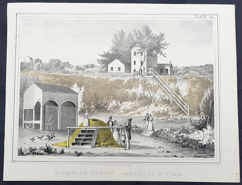 1842 William Mather Antique Geology Print of Highrock Spring, Saratoga, NY