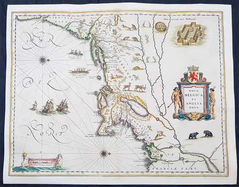 1642 Joan Blaeu Antique Map New England & NE America, Virginia New York to Maine