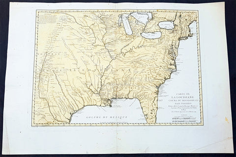 1744 Nicolas Bellin Large Important Antique Map of North America, Charlevoix
