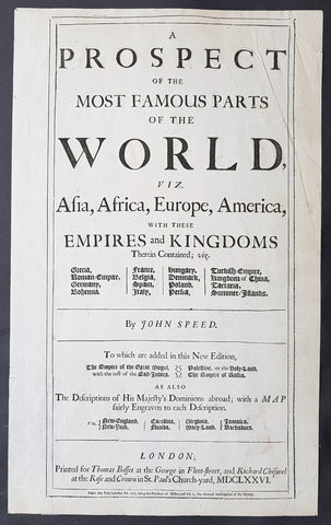 1676 John Speed Original Antique Letterpress Title Page To Speeds World Atlas