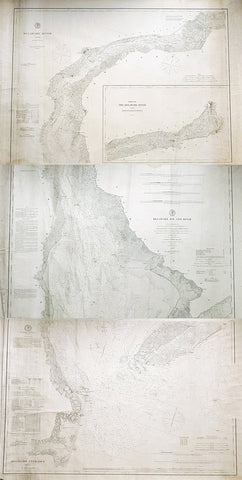 1878-88 US Coast Survey 3 x Sheet Very Large Antique Map of The Delaware River