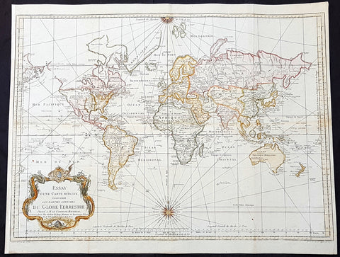 1748 (1770) Nicolas Bellin Large Antique World Map on Mercators Proj. Capt. Cook