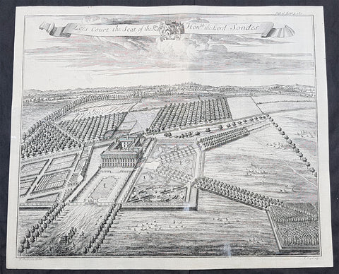 1719 J. Kip Antique View House & Garden of Lees Court, Lord Sondes Kent, England