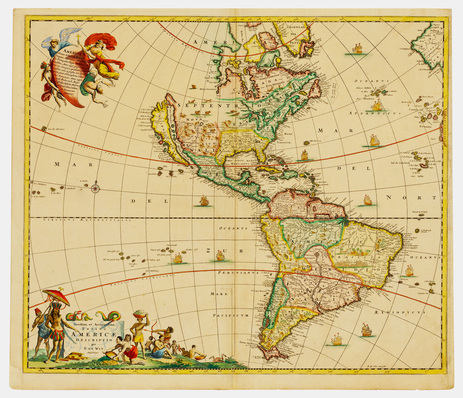 1670 Frederick De Wit Antique Map Of America California Island 5 Great Lakes St Ed
