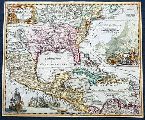 1715 Homann Large Antique Map North America, Great Lakes to New Mexico & Florida