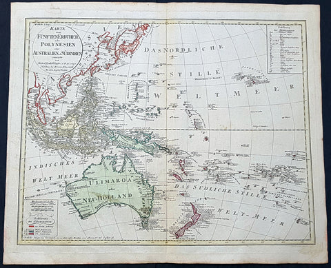 1795 (1806) Canzler Large Antique Map Australia, Ulimaroa, New Zealand SE Asia