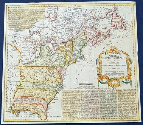 1777 Homann Antique Map Colonial United States, North America Revolutionary War