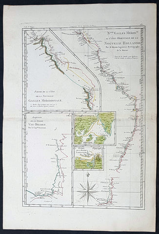 1785 Rigobert Bonne Antique Map of Australia, Botany Bay, Tasmania & Queensland