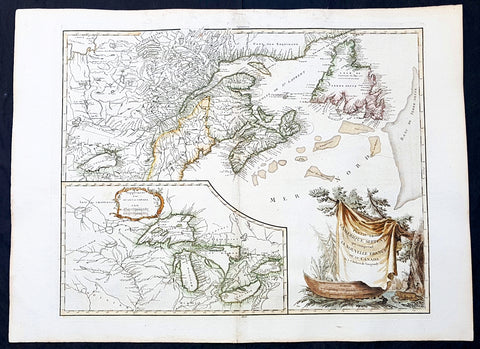 1768 De Vaugondy Large Antique Map Great Lakes of North America & Eastern Canada