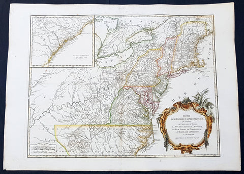 1768 Robert De Vaugondy Large Antique 2nd edition Map of Colonial United States