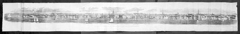 1798 Hayward Very Long View of New York City from Brooklyn, Pub. Valentine 1861