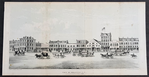 1861 DT Valentine Antique Print View of Broadway New York, America in 1840