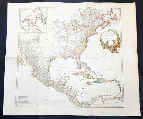 1746 J B D Anville Large Antique Map of North America