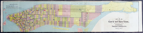1869 DT Valentine Large Antique Map of New York City
