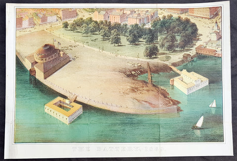1869 DT Valentine Large Antique Print, View of The Battery, Park, New York City