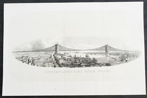 1869 DT Valentine Antique Print of the Proposed East River or Brooklyn Bridge NY