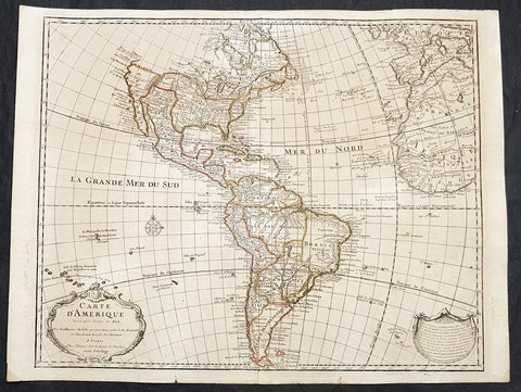 1722 Claude Delisle Large True 1st Edition Antique Map of America