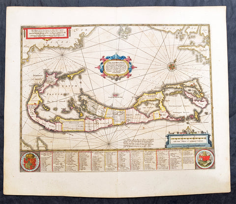 1646 Jan Jansson Large Antique Map The Island of Bermuda