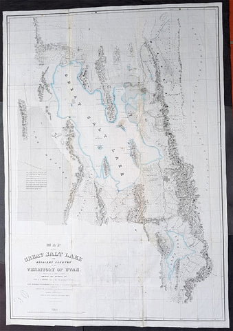 1852 Howard Stansbury Large 1st Antique Map The Great Salt Lake & City, Utah