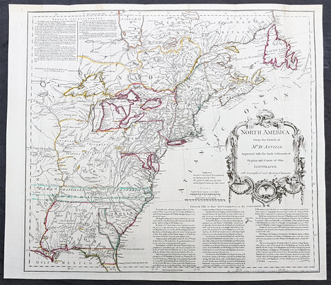 1755 Thomas Jefferys Antique English Edition Map The Colonial American Colonies